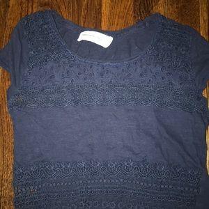 Xs Abercrombie navy blue lace crop top